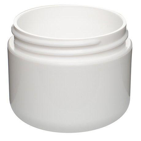 2oz (60ml) White Double Wall Round PP Plastic Jar - 58-400 Neck