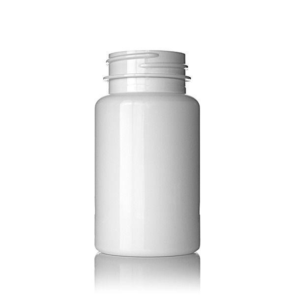 100cc (3.38oz) White PET Wide Mouth Packer Round Plastic Bottle - 38-400 Neck