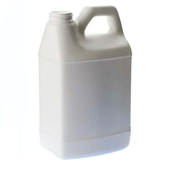 64oz (0.5gal) White HDPE F-Style with Handle Rectangular Plastic Bottle - 38-400 Neck