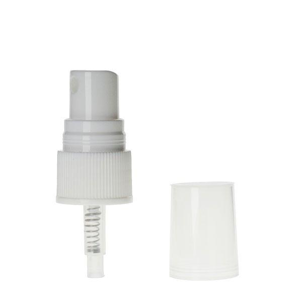 20-410 White Rib Side Plastic Fine Mist Sprayer with Clear Hood - 0.15cc Output 10