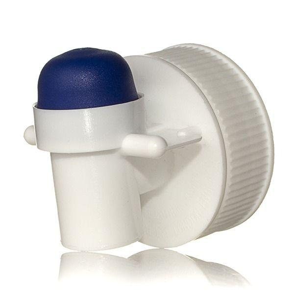 38-400 White HDPE Top Press Tap with Blue Button